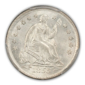 Click now to see the BUY IT NOW Price! 1855 H10C ARROWS LIBERTY SEATED HALF DIME PCGS MS66  CAC