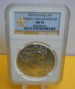 Click now to see the BUY IT NOW Price! 2013 W BURNISHED AMERICAN SILVER EAGLE ANNUAL DOLLAR SET NGC MS70  POP 710