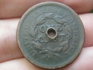 1852 BRAIDED HAIR LARGE CENT PENNY HOLED THROUGH CENTER