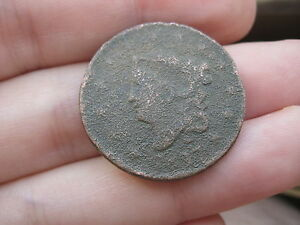 1817 MATRON HEAD LARGE CENT PENNY 13 STARS METAL DETECTOR FIND?