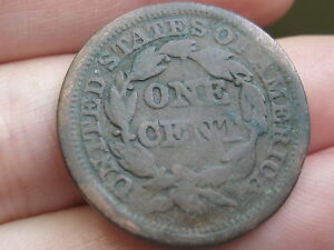 1845 BRAIDED HAIR LARGE CENT VG REVERSE DETAILS