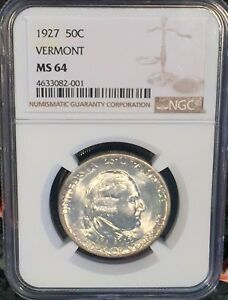 1927 VERMONT COMMEMORATIVE SILVER HALF DOLLAR NGC MS64 :  FLASHY WHITE LUSTER