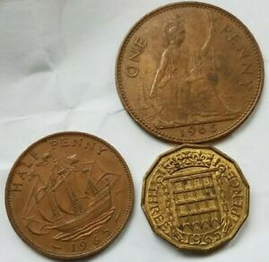 UK 1965 CIRCULATED HALF & ONE PENNY COIN  GREAT BRITAIN ENGLAND