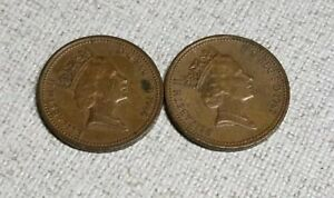 UK 1986 &1987 GREAT BRITAIN 1 ONE PENNY WORLD COIN