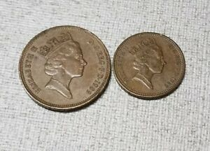 UK 2 COINS 1989 GREAT BRITAIN TWO PENCE 1989 GREAT BRITAIN ONE PENNY.