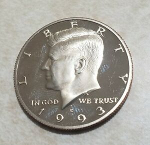 1993 S PROOF JOHN KENNEDY HALF DOLLAR ULTRA DEEP CAMEO CLAD