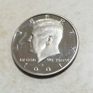1991 S PROOF JOHN KENNEDY HALF DOLLAR ULTRA DEEP CAMEO CLAD
