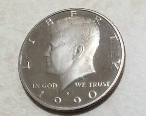 1990 S PROOF JOHN KENNEDY HALF DOLLAR ULTRA DEEP CAMEO CLAD