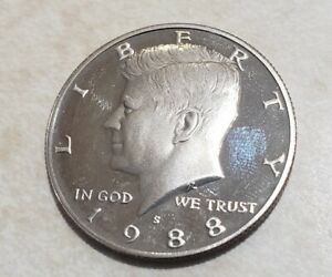 1988 S PROOF JOHN KENNEDY HALF DOLLAR ULTRA DEEP CAMEO CLAD
