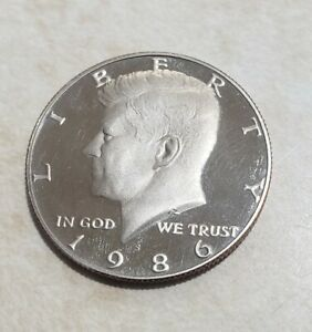 1986 S PROOF JOHN KENNEDY HALF DOLLAR ULTRA DEEP CAMEO CLAD