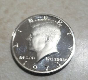 1973 S PROOF JOHN KENNEDY HALF DOLLAR ULTRA DEEP CAMEO CLAD