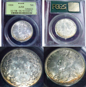 Click now to see the BUY IT NOW Price! 1934 CANADA 50 CENTS  PCGS AU58