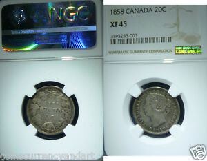 Click now to see the BUY IT NOW Price! 1858 CANADA 20  TWENTY CENTS.NGC XF45