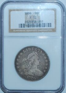 1806 NGC F12 POINTED 6 WITH STEM DRAPED BUST HALF DOLLAR