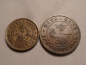 1949 NICE HONG KONG NICKEL BRASS 5 AND 10 CENT 2 PIECE SET