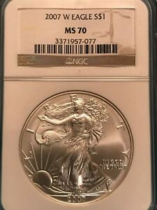2007 W $1 BURNISHED SILVER EAGLE MS70 NGC