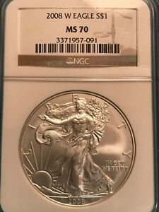 2008 W $1 BURNISHED 1OZ SILVER EAGLE MS70 NGC