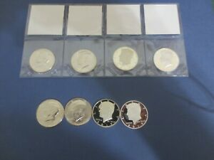 ALL 4 2019  P D S PROOF CLAD & S 99.9 SILVER PROOF KENNEDY HALVES  YEAR SET >.
