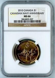 2010 CANADA NGC MS66 CANADIAN NAVY ANNIVERSARY DOLLAR $1  AWESOME COIN