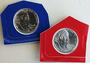 2011 P AND D UNCIRCULATED JEFFERSON NICKEL 5 CENTS 2 COIN LOT BLISTER PACKS