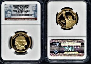 2007 S $1 JAMES MEDISON  PRESIDENTIAL DOLLAR GRADED BY NGC PROOF 70 ULTRA CAMEO