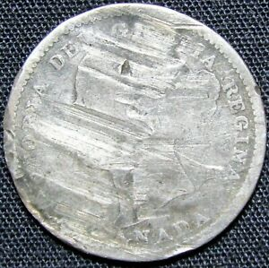ND CANADA 10 CENTS SILVER COIN   BADLY DAMAGED