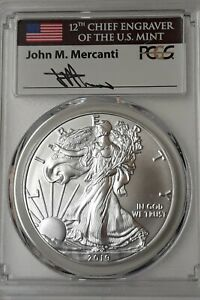 2019 SILVER EAGLE PCGS MS70  FIRST DAY OF ISSUE  MERCANTI SIGNED