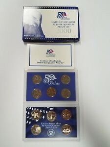 PS0500QBMCI US MINT PROOF 5 COIN SET YEAR 2000 STATE QUARTERS CAMEO IMPAIRED PGP