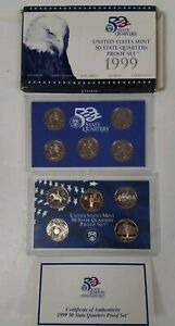 PS0599QBMC US MINT PROOF 5 COIN SET YEAR 1999 STATE QUARTERS CAMEO FINISH FRESH