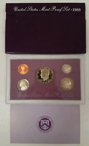 PS0588BMCI US MINT PROOF 5 COIN SET 1988 CAMEO IMPAIRED COMPLETE OGP GSB $4.00