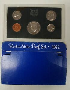 PS0572BMC US MINT PROOF 5 COIN SET 1972 CAMEO FRESH COMPLETE OGP GSB $3.00
