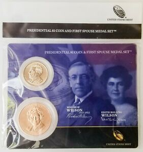 2013 WILSON PRESIDENTIAL $1 COIN & FIRST SPOUSE MEDAL SET 2 EDITH [4242.15]