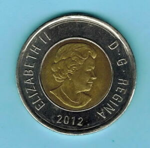 CANADA 2012 2 DOLLARS COIN CIRCULATED ELIZABETH II 4TH PORTRAIT  862