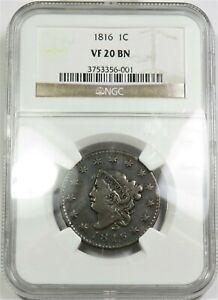 1816 NGC VF 20 BN LARGE CENT CORONET HEAD PENNY 1C US COIN ITEM 20406A