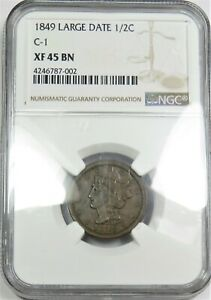1849 NGC XF 40 BN BRAIDED HAIR HALF CENT 1/2 COPPER US COIN ITEM 20409A