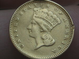 1866 $1 GOLD INDIAN PRINCESS ONE DOLLAR COIN  LY