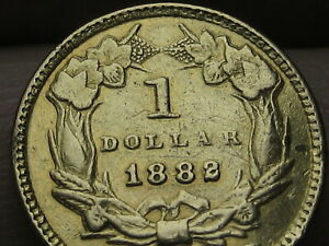 1882 $1 GOLD INDIAN PRINCESS ONE DOLLAR COIN  VF DETAILS
