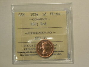 Click now to see the BUY IT NOW Price! 1954 CANADA CENT  ICCS PL 64 NO SHOULDER FOLD; NSF RED  STUNNING  8611