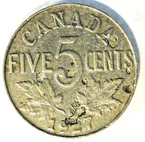 1927 CANADIAN 5 CENT COIN  NICKEL  KM29 A6