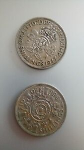 1947 ONE COIN TWO SHILLINGS KING GEORGE VI AND 1966 QE 11 TWO SHILLINGS