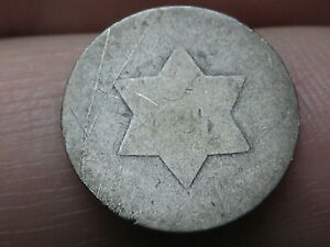 1851 1853 THREE 3 CENT SILVER TRIME  LOWBALL HEAVILY WORN