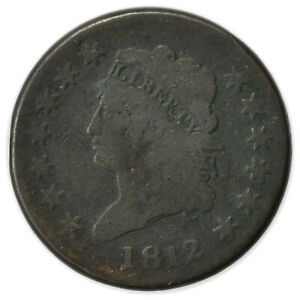 1812 CLASSIC HEAD LARGE CENT  TOUGH DATE EARLY TYPE COIN [4314.173]