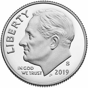 2019 S CLAD PROOF ROOSEVELT DIME GEM DEEP CAMEO COIN.