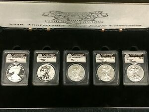 2011 SILVER EAGLE 25TH ANNIVERSARY 5 COIN SET   J. MERCANTI PCGS 70 1ST STRIKE