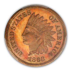 Click now to see the BUY IT NOW Price! 1868 1C INDIAN CENT   TYPE 3 BRONZE PCGS PR66RB  CAC