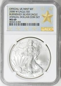 2008 W ANNUAL DOLLAR COIN SET SILVER EAGLE NGC MS69
