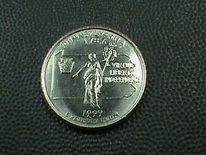 UNITED STATES  25 CENTS 1999 D  UNCIRCULATED PENNSYLVANIA  $ 3.99  MAX  SHIP USA