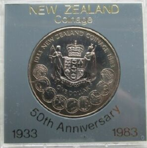 NEW ZEALAND 1983 BU DOLLLAR CASED 50TH ANNIVERSARY OF COINAGE