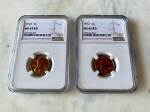 LOT OF 2 LINCOLN PENNY CENTS 1973  NGC  MS 66 RD AND MS 65 RD