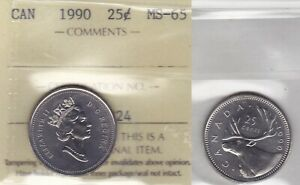 Click now to see the BUY IT NOW Price! 1990 ICCS MS65 25 CENTS CANADA TWENTY FIVE QUARTER